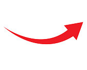 red arrow icon on white background. flat style. arrow icon for your web site design, logo, app, UI. arrow indicated the direction symbol. curved arrow sign.