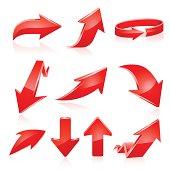 Red arrow icon set. Vector
