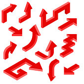Red arrows. Isometric set of 3d icons