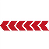 Red arrows on white background. Direction indicator. Vector arrow icons.