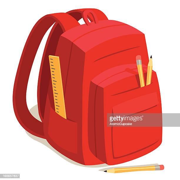 red back to school backpack - rucksack stock illustrations