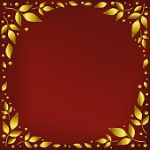 Red background stylized as red velvet decorated with golden leaves and dots in form of circle