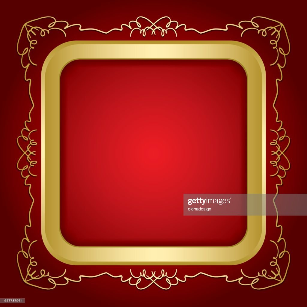 red background with golden vintage frame and transparent shadow inside - vector