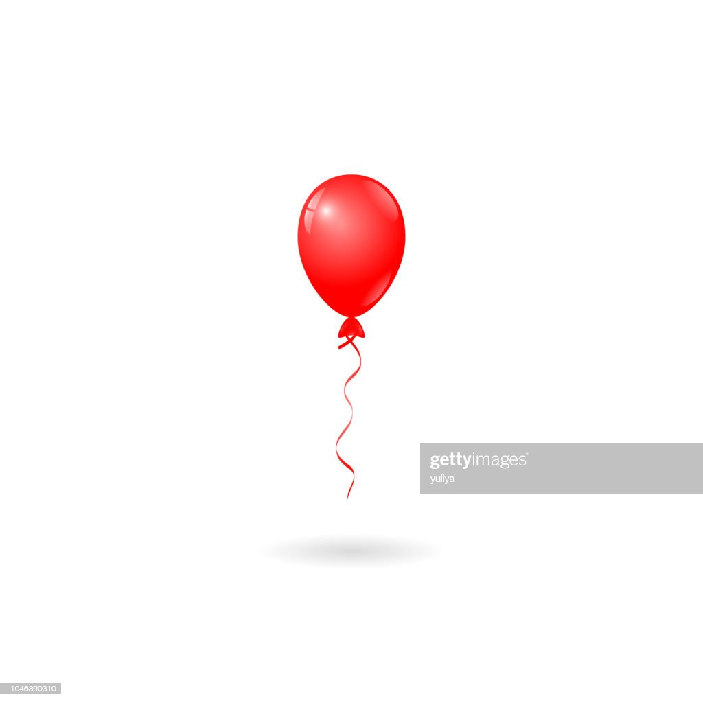 Red Balloon On White Background Birthday Card Party Invitation Card