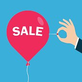 red balloon with an inscription Sale