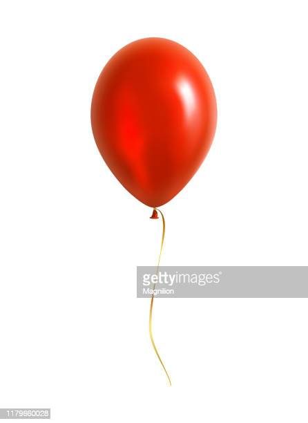 red balloon with yellow ribbon - balloon stock illustrations