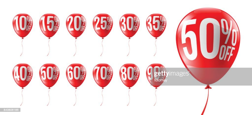 Red Balloons Discounts for Retail,Shopping,Sale or Promotion concept.Set of Balloon 10%, 15%, 20%, 25%, 30%, 35%, 40%, 50%, 60%, 70%, 80% and 90% Discounts Isolate on white background.Vector illustration