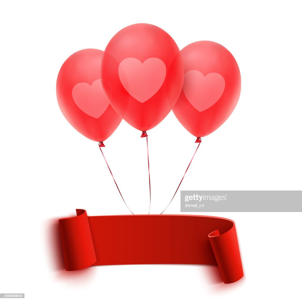Red banner with three balloons : Vector Art