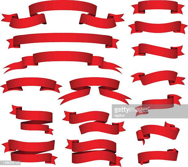 red banners and ribbons set - pennon stock illustrations