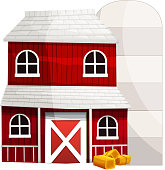 Red barn and silo on white background