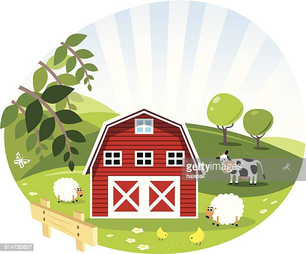 Red Barn- Green Farm- Illustration