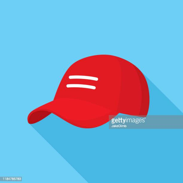 red baseball cap icon flat - hat stock illustrations