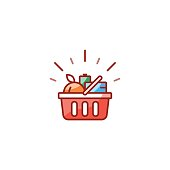 Red basket with grocery products, promotion deal, shopping food line icon