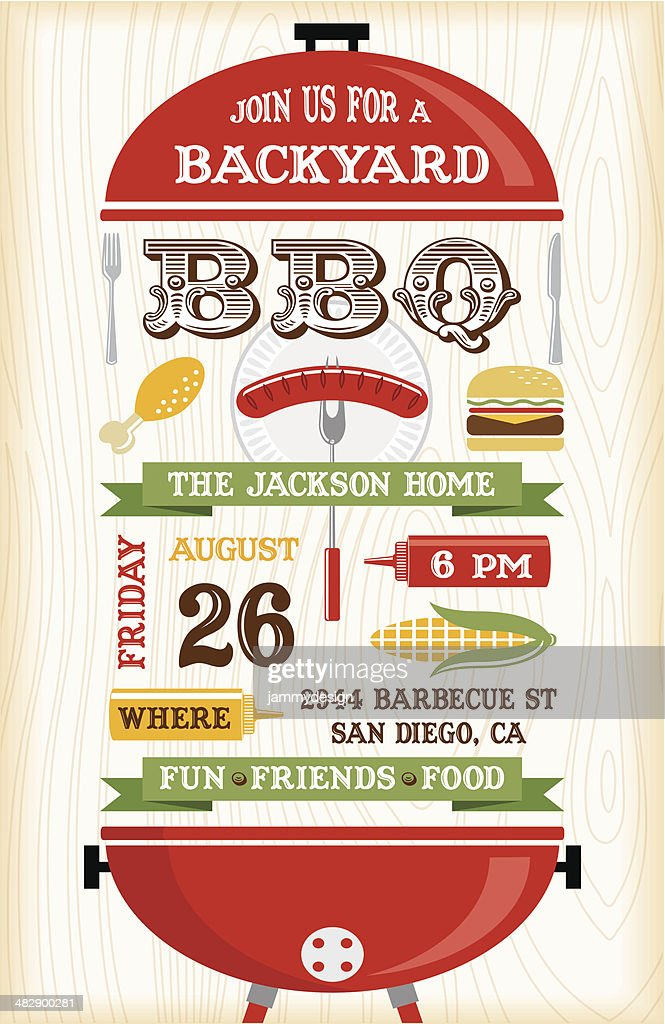 red bbq grill invitation vector art getty images
