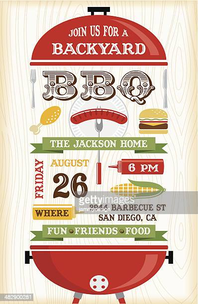 Red BBQ Grill Invitation