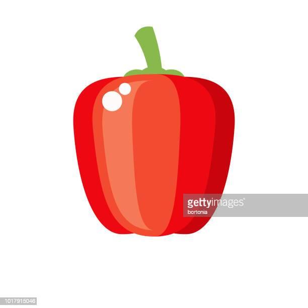 red bell pepper flat design vegetable icon - bell pepper stock illustrations, clip art, cartoons, & icons
