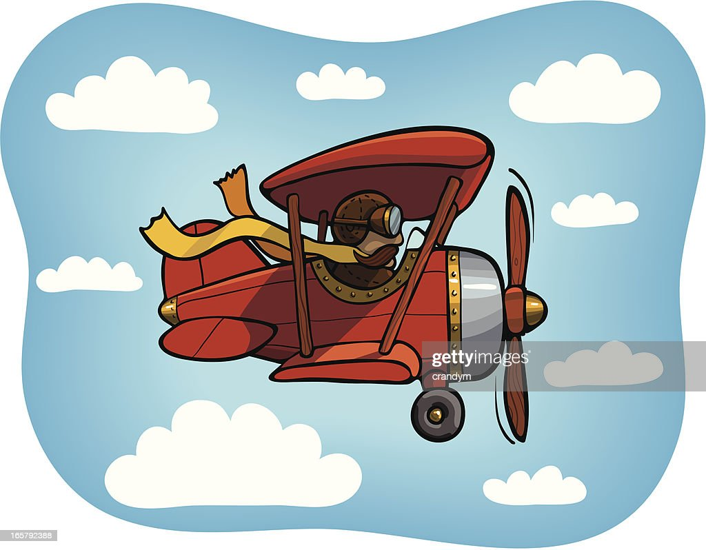 Red Biplane on Blue Sky with Clouds : stock illustration
