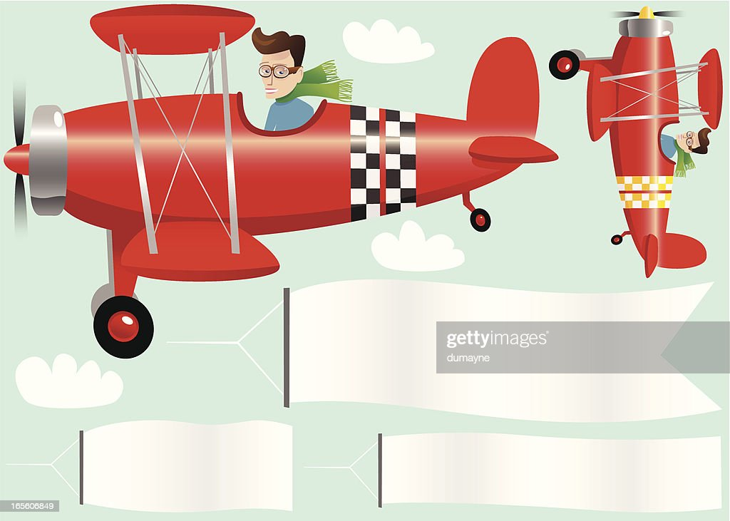 Red biplanes planes and banners