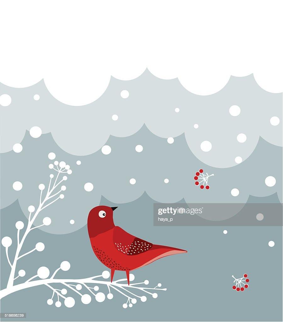 Red Bird On Branch