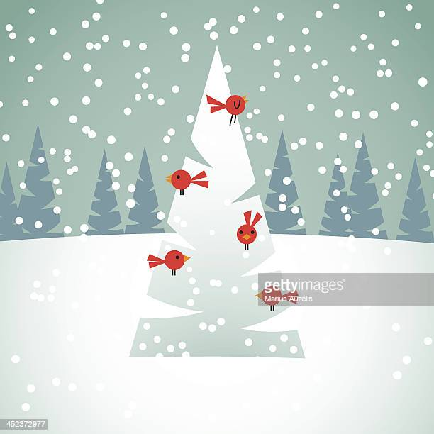 illustrazioni stock, clip art, cartoni animati e icone di tendenza di uccelli sull'albero di natale rosso - image