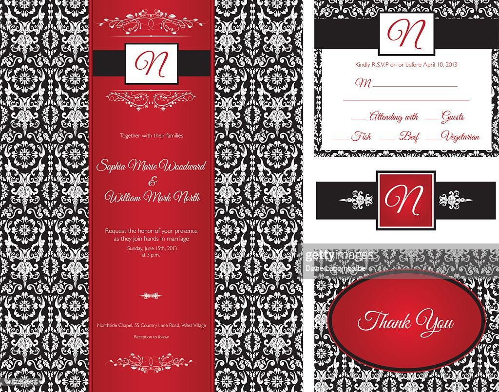 Red Black Damask Wedding Invitation Vector Art | Getty Images