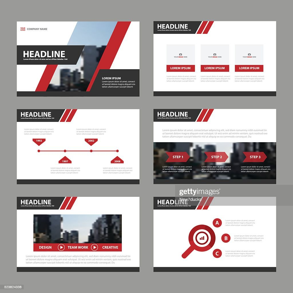 Red Black presentation templates Infographic elements flat design set