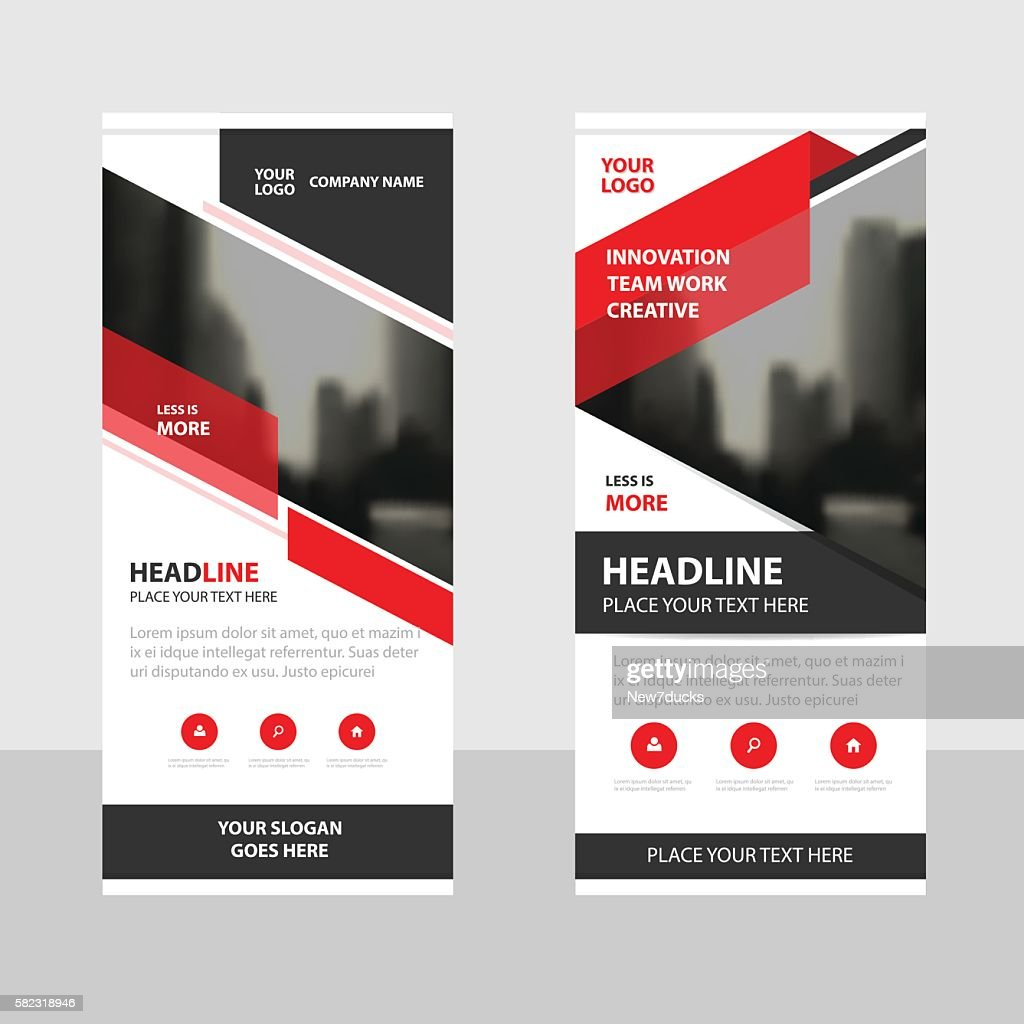 Red black triangle Business Roll Up Banner flat design template