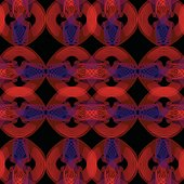 Red blend abstract shapes on black background, seamless classical patterns with transparency