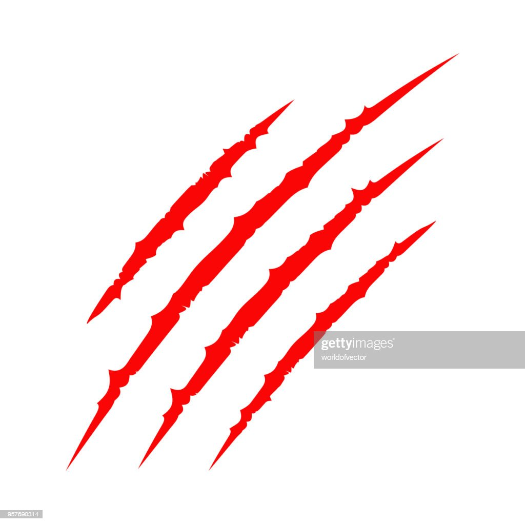 Red bloody claws animal scratch scrape track. Cat tiger scratches paw. Four nails trace. Funny design element. Flat design. White background. Isolated.