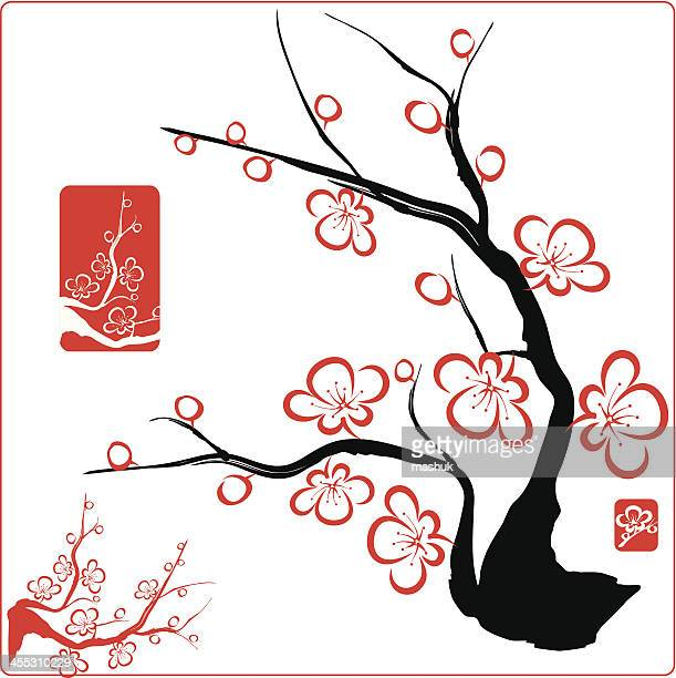 red blossom designs on a black tree - flowering trees stock illustrations, clip art, cartoons, & icons