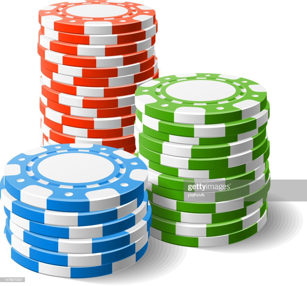 Red, blue, and green stacked casino chips