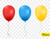 Red, blue and yellow balloons isolated.