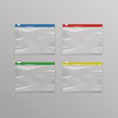 Red Blue Green Yellow Sealed Empty Transparent Plastic Zipper Bags