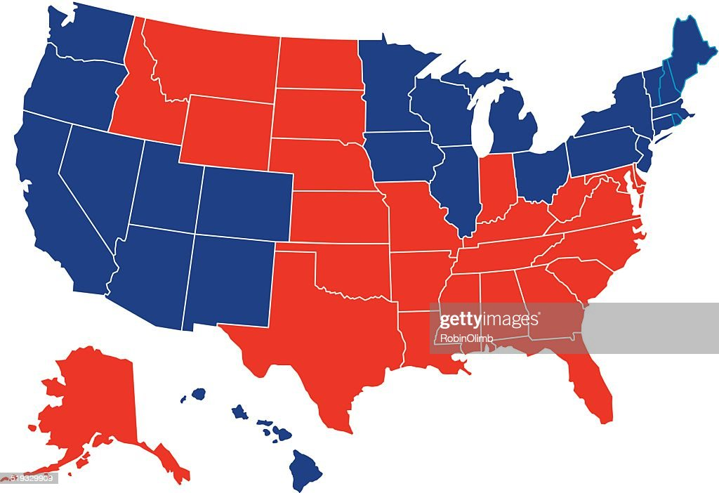 Usa Red Blue Map All Fifty States Vector Art Getty Images - A map with all the states