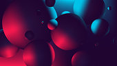 Red blue neon light with a reflection on sphere, gradient vector illustration