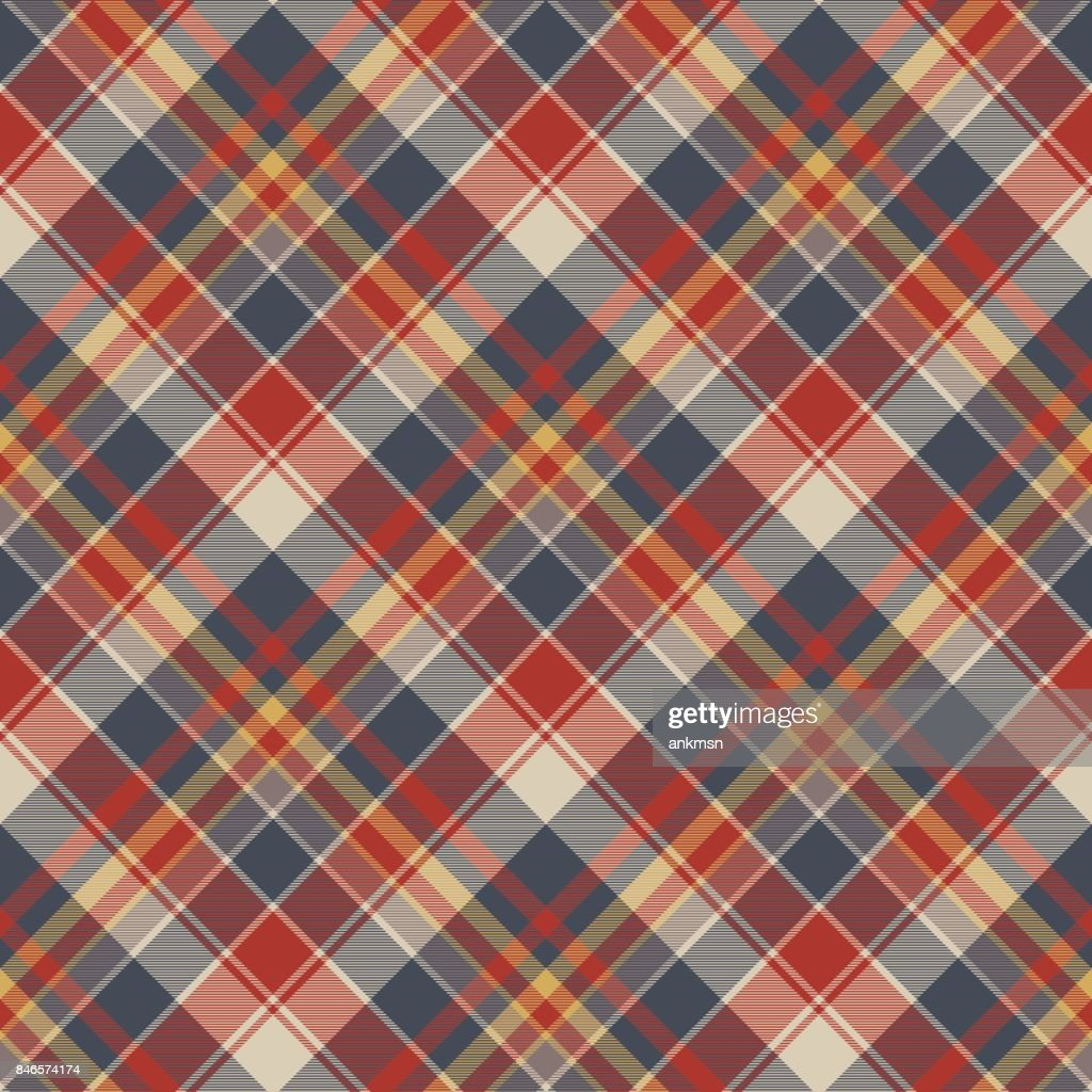 Red blue tartan fabric texture seamless pattern