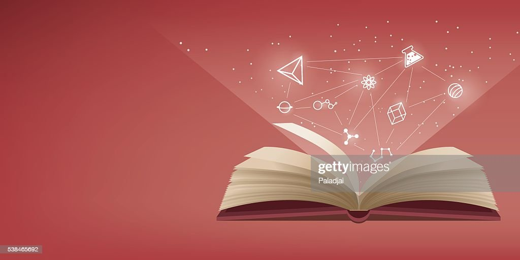 Red book opening, the icon refers to knowledge and learning.