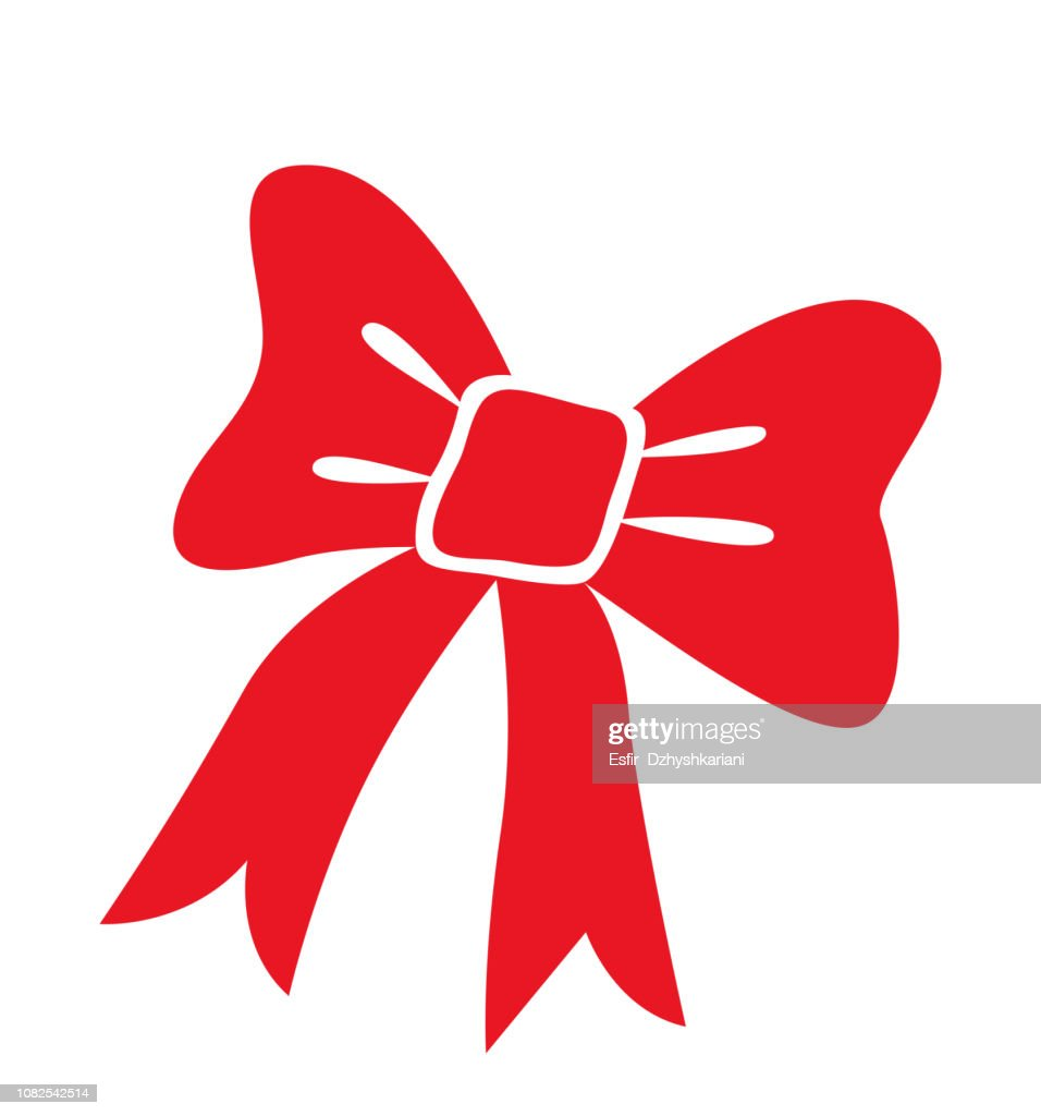 Red bow icon christmas element flat vector  isolated on white background