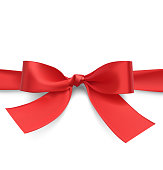 Red bow with ribbon. Vector illustration on white background.