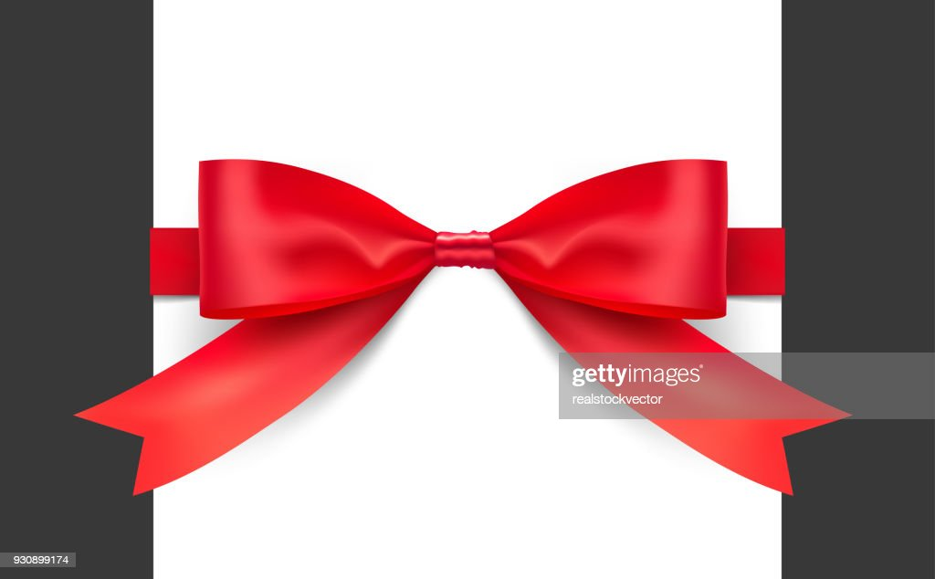 Red bow with ribbons. Vector illustration on white background.