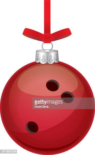 red bowling ball christmas ornament - bowling ball stock illustrations, clip art, cartoons, & icons