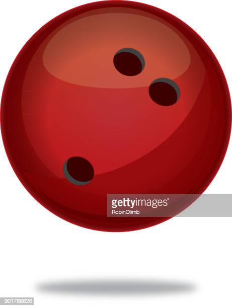 red bowling ball with shadow icon - bowling ball stock illustrations, clip art, cartoons, & icons