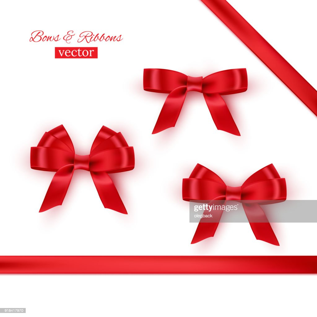 Red bows and ribbons. Vector realistic design elements set.