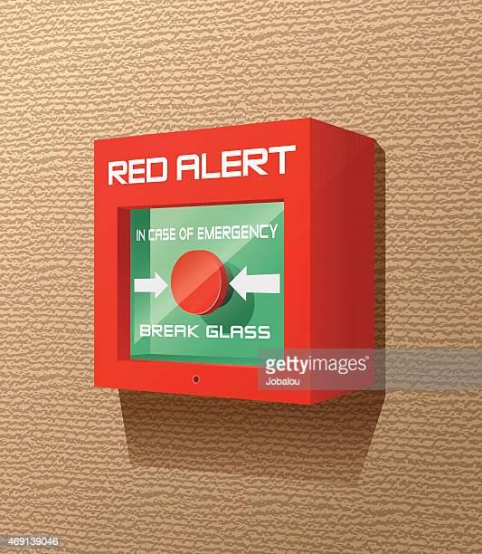 Red Box Red Button Break Glass Fire Alert