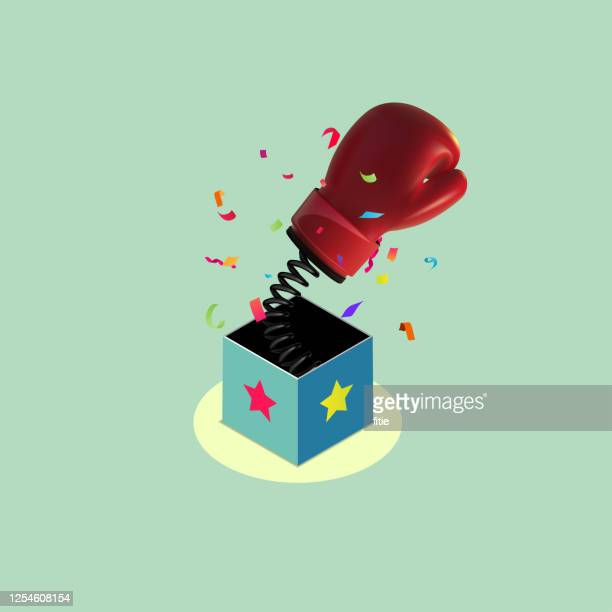 red boxing glove out of the surprise box, - knockout stock illustrations
