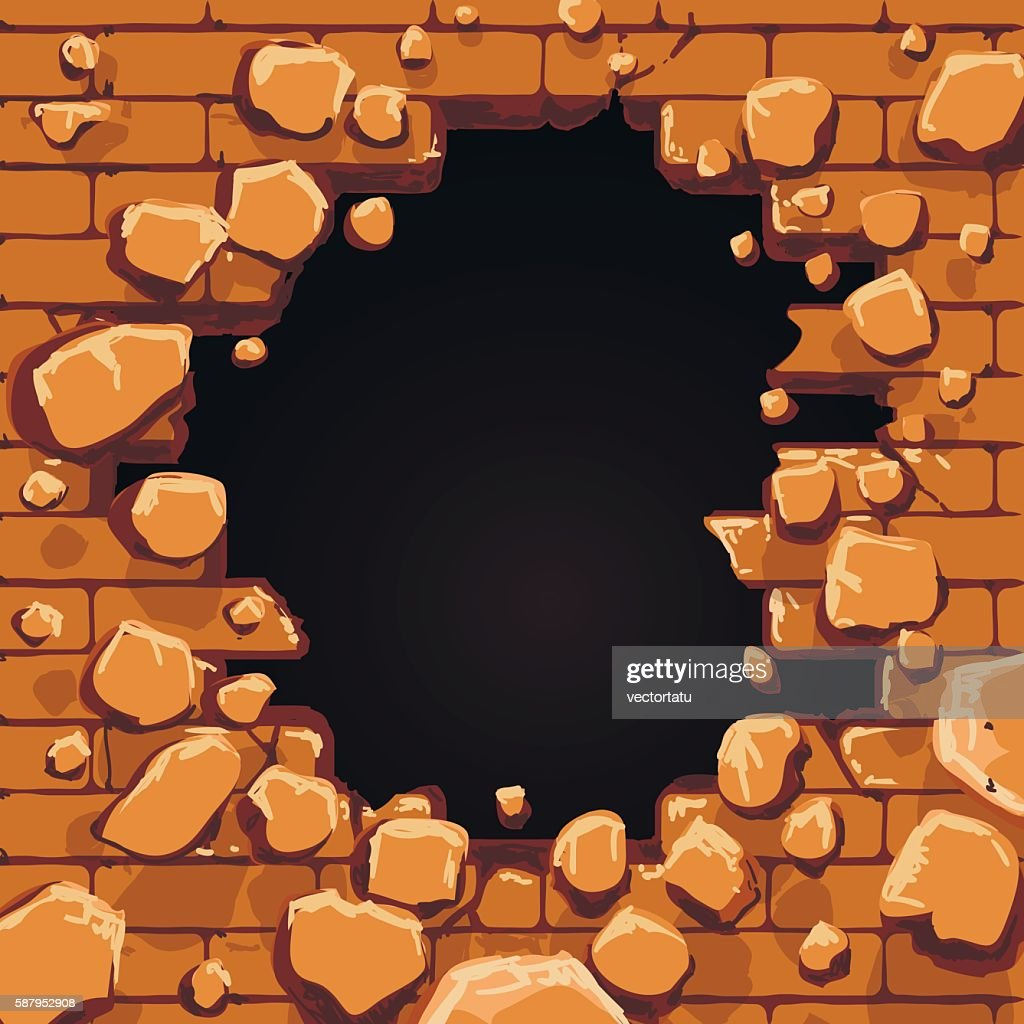 Red brick wall hole