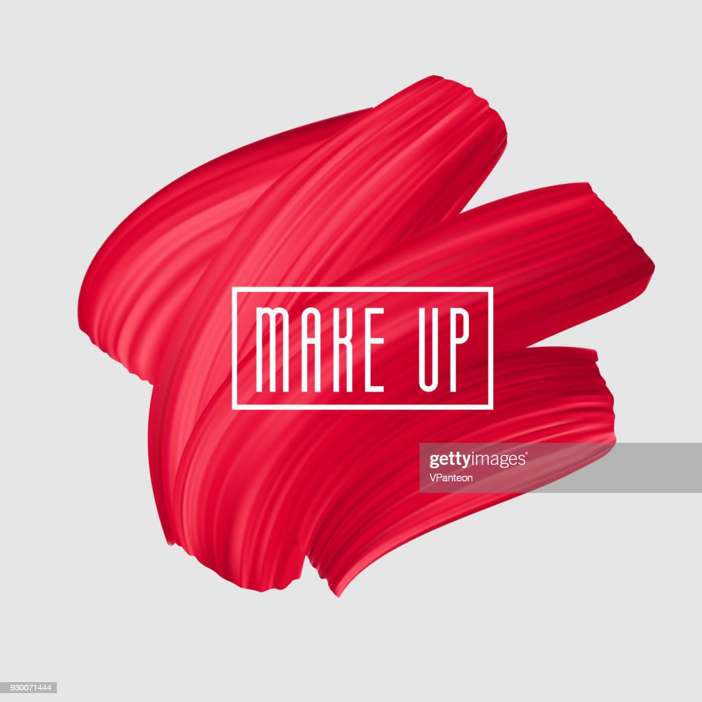 Red brush painted smear for makeup icon. Vector beautiful brushstroke, female girly banner. Red Lipstick Mark.