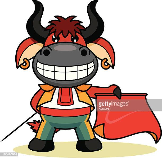 red bull cartoon - bullfighter stock illustrations, clip art, cartoons, & icons