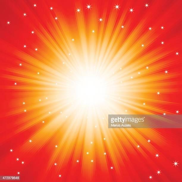 Vermelho com explosão de luz brilhem