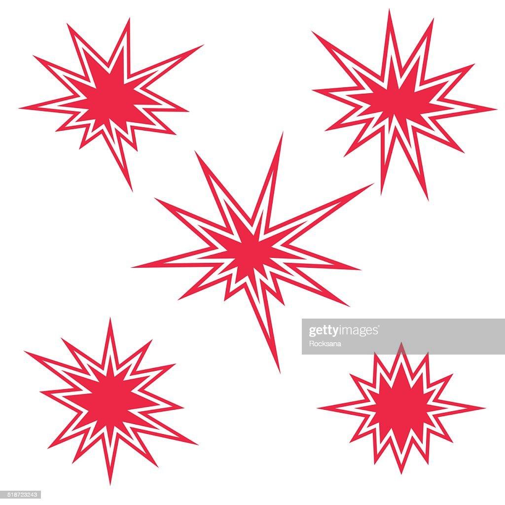 Red burst sign set. Vector illustration